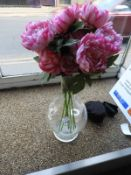 *Large Glass Vase with Artificial Flowers