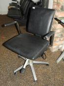 *Wella Black Leather Gaslift Salon Chair on Five Spoke Aluminium Base