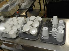 *Assorted White Cups & Saucers