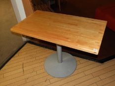 *13 Rectangular Pedestal Dining Tables with Butcher Block Style Tops
