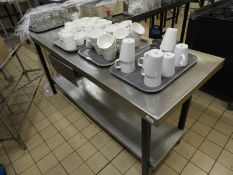 *Stainless Steel Preparation Table with Undershelf and Drawer 180x60cm