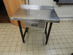 *Stainless Steel Preparation Table with Drawer and Upstand to Rear 90x60cm