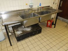 *Stainless Steel Commercial Double Bowl Sink 60x245cm