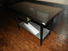 *Stainless Steel Table with Undershelf and Drawer 20x60cm