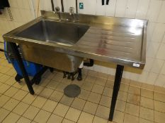 *Stainless Steel Commercial Sink Unit with Right Hand Drainer and Pillar Taps 120x60cm