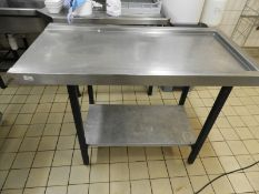 *Stainless Steel Dishwasher Side Table with Undershelf 125x65cm