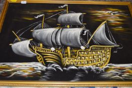 Oil Painting on Felt of a Galleon