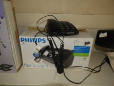 Philips Fax Machine and a Big Button Telephone