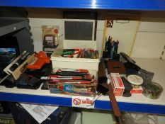 *Assorted Office Sundries Including Staplers, Label Printers, Pens, Hole Punches, etc.