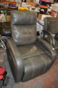 *Grey Leather Electric Rocking Reclining Armchair
