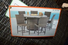 *7pc Woven Outdoor Dining Set with Built in Fire Pit