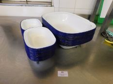 * Enamel Pie Tins blue and white approx 30 various sizes
