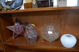 Glass Lampshades, Star Lamp, etc.
