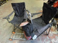 Shopping Trolleys and Two Folding Camping Chairs