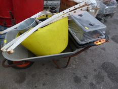 Wheelbarrow, Pair of Iron Bench Ends, Buckets and