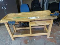 Pine Workbench with Record No.1 Vice and a Woden 1