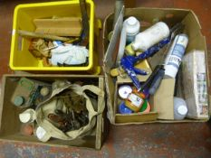 Three Boxes of Tools, Bird Food, Cleaning Products