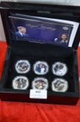 Boxed Cased Set of Six Pictorial Harry & Megan Royal Wedding Coins