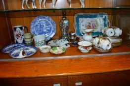 Royal Albert Part Tea Set plus Decorative China Plates, Lamp Base, etc.