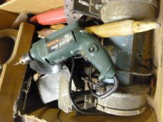 Box of Tools Including Bench Grinder, Bosh Drill,