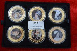 Six Commemorative Pictorial Coins