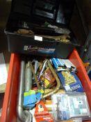 Toolbox and Tools Including Drill Bits, Saw, Door