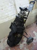 Golf Trolley and Assorted Clubs Including Dunlop,