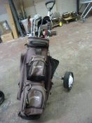 Golf Trolley and Assorted Clubs Including Ben Ross