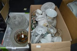 Two Boxes of Glassware and Pottery