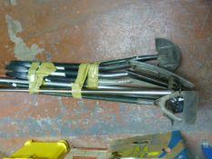 Bundle of Garden Tools; Rake, Fork, Spades, Hoe, e