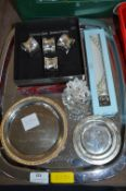 Tray Lot of Plated Napkins, Dishes, plus Costume Jewellery, etc.