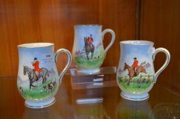 Three Royal Crown Derby Hunting Mugs