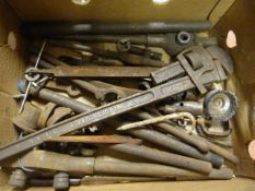 Box of Tools; Stilson, Die Holders, etc.