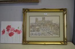 Signed Framed Sketch of York Minster from the Rooftops, plus One Other