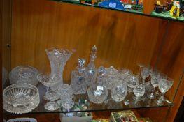 Cut Glass Decanters, Bowls, Wine Glasses, etc.