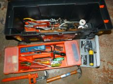 Toolbox and Tools Including Socket Sets, Pliers, S