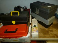 Five Small Plastic Toolboxes, Small Quantity of To