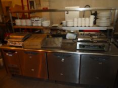 *Williams 3 door bench fridge on castors with full width 2 shelf pass and heated gantry complete