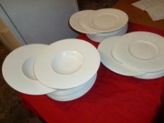 *white crockery - bowls and plates. approx. 27 items - nice presentation dish style