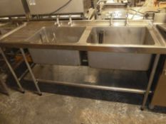 *S/S double sink with under shelf and 2 pairs of taps 1750w x 610d x 870h