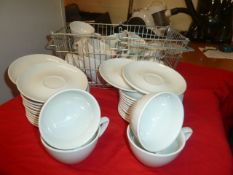 *white coffee cups with saucers approx. 24 with shopping basket