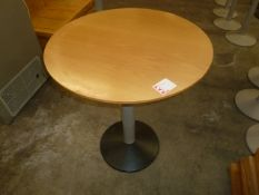 *round wooden topped tables x 4 700diam x 760h