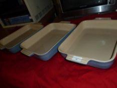 *blue stoneware dishes x 3