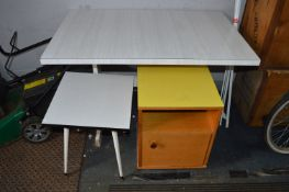 Retro Formica Topped Table plus Side Table and Cab