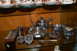 Silver Plated Part Tea Set plus Glassware etc.