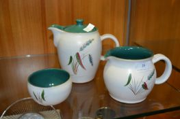 Denby Greenwheat Teapot, Jug and Sugar Bowl