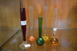 Five Coloured Glass Stem Vases