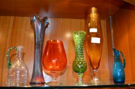 Coloured Glass Vases etc.