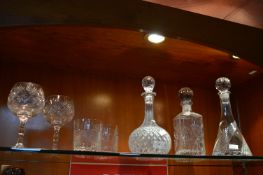 Three Cut Glass Crystal Decanters plus Tumblers an