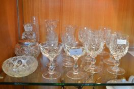 Cut Glass Crystal Wine Glasses, Sherry Glasses, et